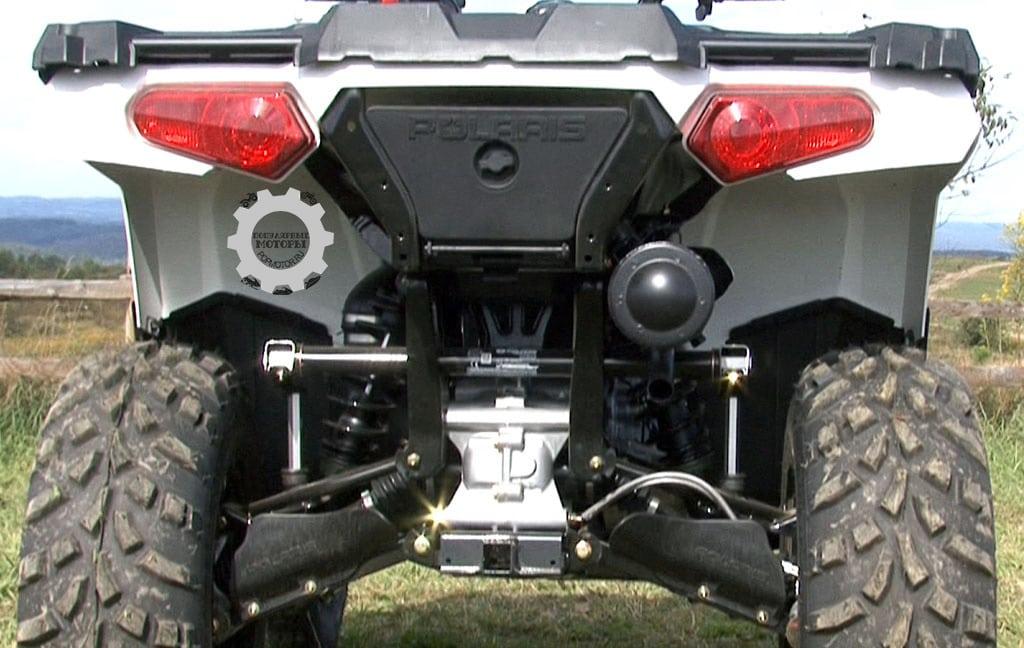 Подвеска Sportsman 570 практически не отличается от Sportsman 500: 208 миллиметров хода спереди, 241 миллиметр хода сзади.